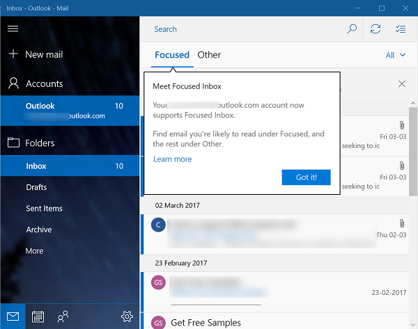 Enable Focused Inbox in Windows 10 Mail App 1