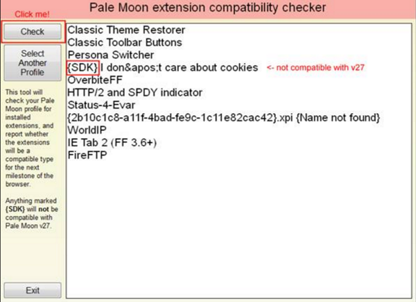 Pale Moon Extension Compatibility Checker