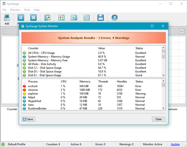 SysGauge lets you check system resource and analyze them