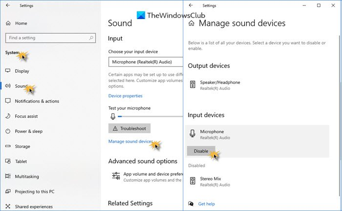 disable microphone windows 10