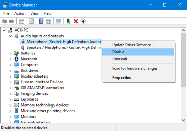 disable turn off microphone windows 10