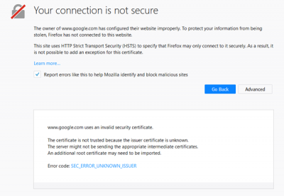 your connection is not secure firefox