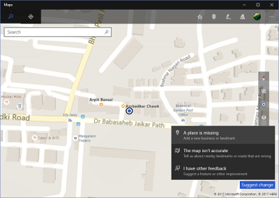 Suggest a change in Windows Maps