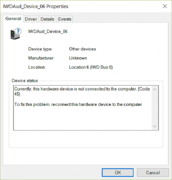 Currently, this hardware device is not connected to the computer (Code 45)