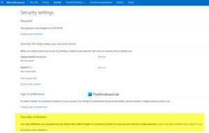 Enable 2-step verification in Microsoft Account