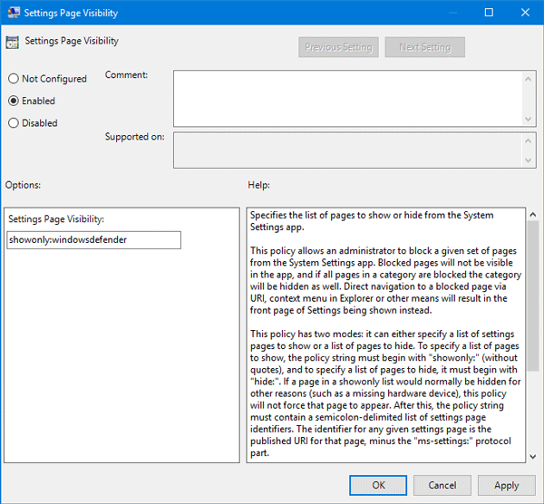 Hide Settings page in Windows 10 using Group Policy Editor