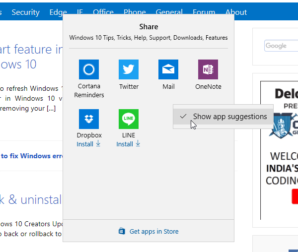 Disable Share Suggestions in Windows 10