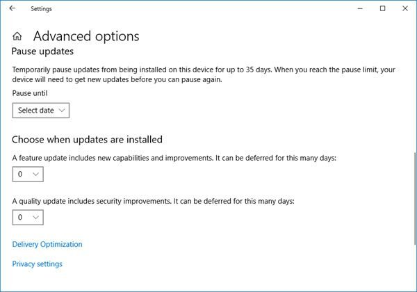 Pause, Delay, Defer Windows Updates