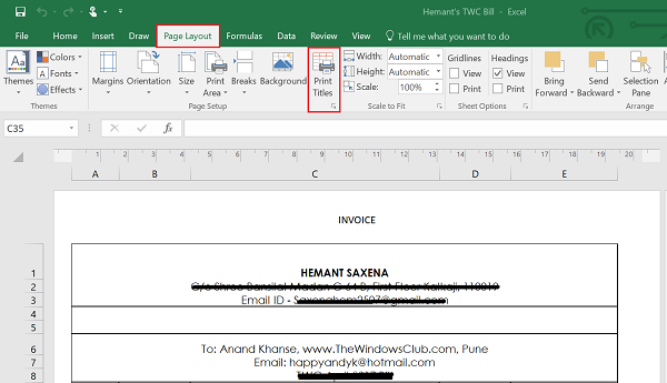 Row or Column as Print Title of an Excel Report
