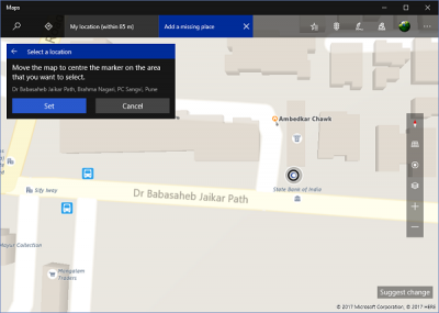 How to suggest a change for missing or inaccurate place in Windows Maps