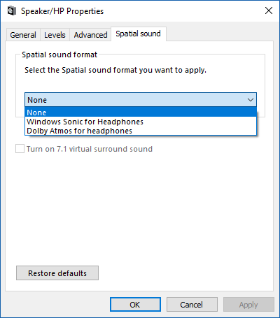 enable Windows Sonic surround sound in Windows 10