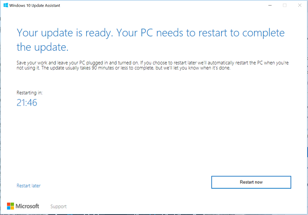 Install Windows 10 Creators Update using Windows 10 Upgrade Assistant
