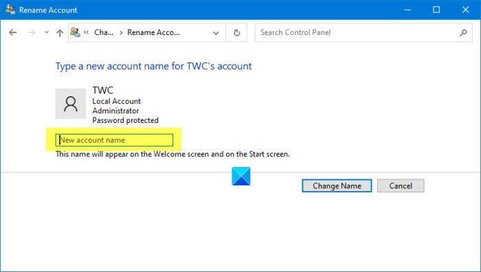 change the User Account name of another user account