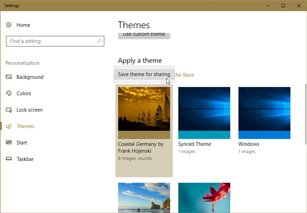 create, save, and use Themes in Windows 10 v1703