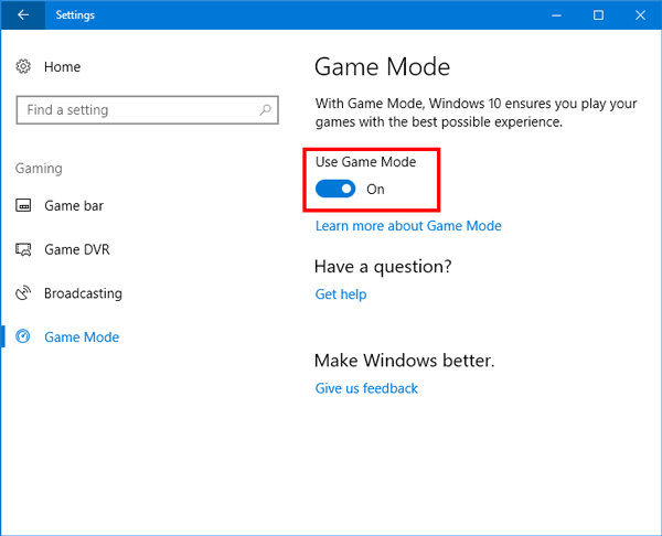 enable and use Game Mode in Windows 10