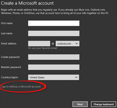install Windows 10 using Local Account 1