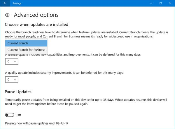 pause defer delay windows 10 update