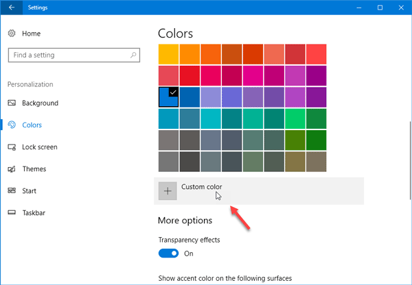 select custom color for Windows 10 Start Menu, Taskbar, Title Bar, and Action Center