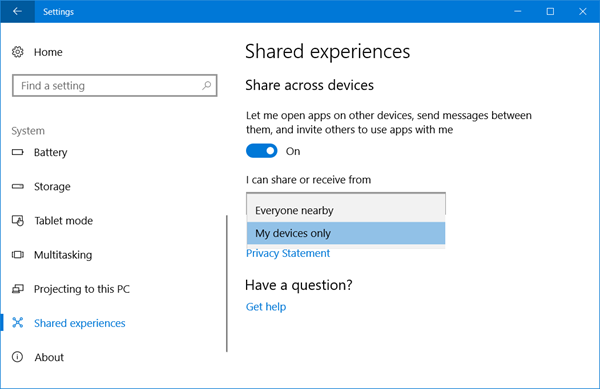 shared experience windows 10