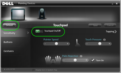 turn off reset touchpad