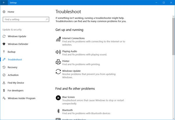 windows 10 troubleshooters page