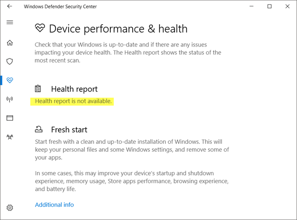 Health Report Is Not Available