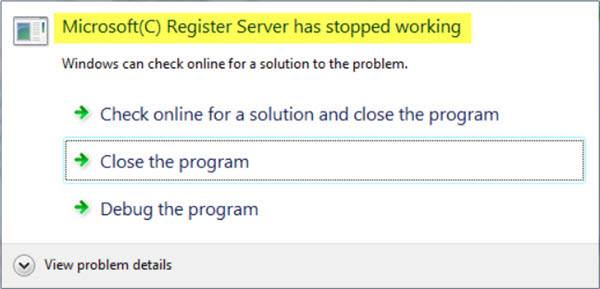 Microsoft Register Server has stopped working