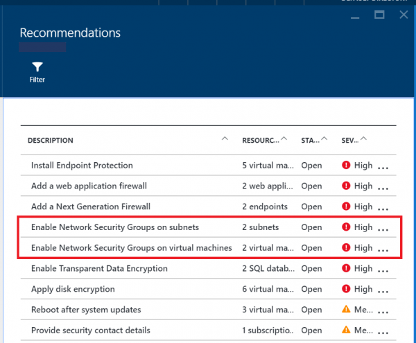 Enable Network Security Groups In Azure Security Center