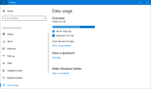 data usage windows 10