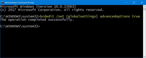 Boot Windows 10 directly to Advanced Startup Options