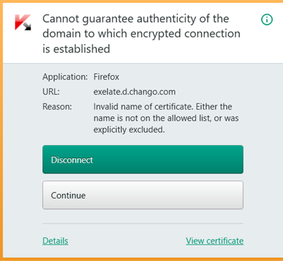 Cannot guarantee authenticity of the domain to which encrypted connection is established