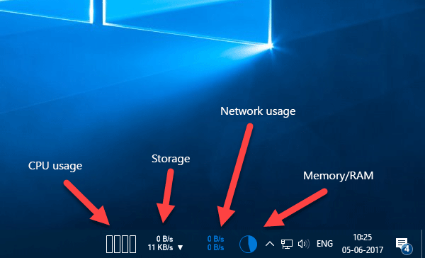 Show CPU, Network, Memory, Disk Usage in Taskbar using XMeters