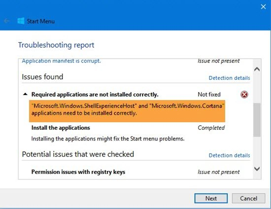 Microsoft.Windows.ShellExperienceHost and Microsoft.Windows.Cortana applications need to be installed correctly