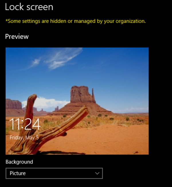 Lock screen not greyed out. Source: microsoft.com