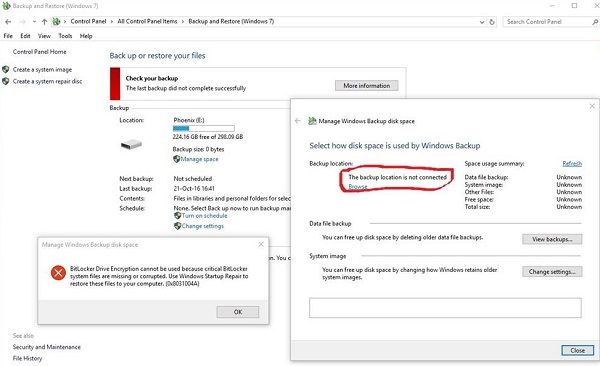 BitLocker Drive Encryption cannot be used because critical BitLocker system files are missing or corrupted. Source: microsoft.com