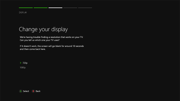 Change your display in Xbox One S. Source: microsoft.com
