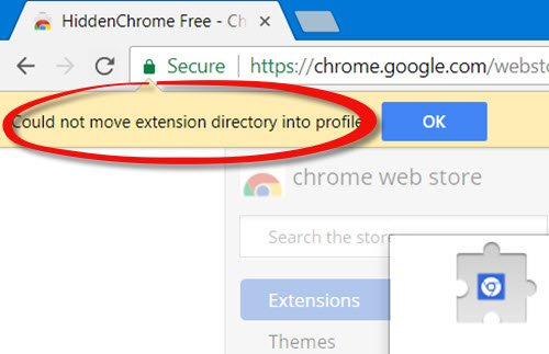 Could not move extension directory into profile Chrome