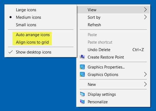 Desktop icons rearrange and move after reboot