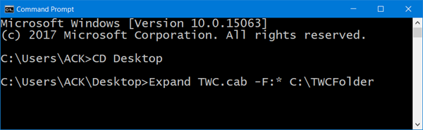 extract CAB File using command line