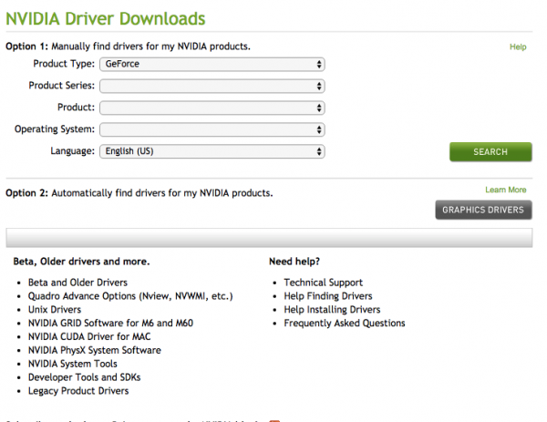 Download NVIDIA drivers