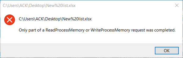 Only part of a ReadProcessMemory or WriteProcessMemory request was completed