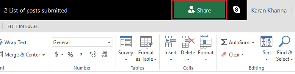 Share in MS Excel