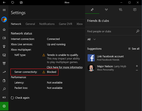 Multiplayer Server Connectivity in Xbox App in Blocked