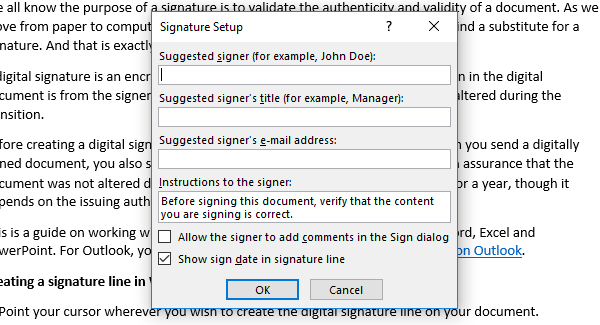 add, remove and change signatures in Office files