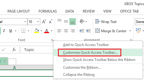 Customize Quick Access Toolbar in Excel