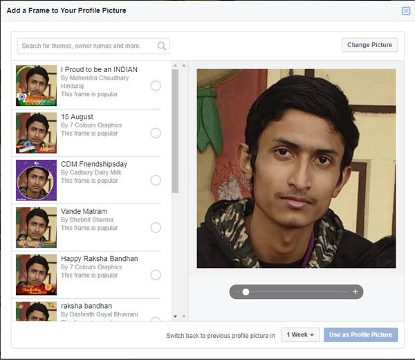 Add a Frame to Facebook profile picture