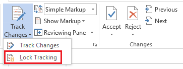 Lock changes in Word