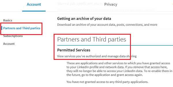 Removing app permissionsfrom LinkedIn