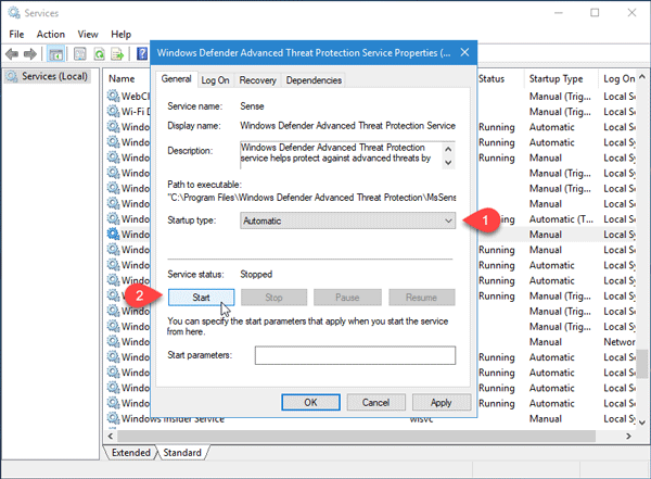This program's service has stopped error in Windows Defender