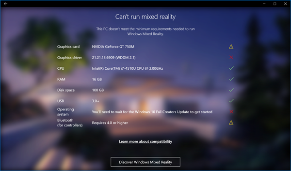 Check if your PC supports Windows Mixed Reality